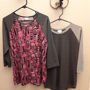 Lularoe  Lot of Two  3/4 Sleeved Tunics Large/XL
